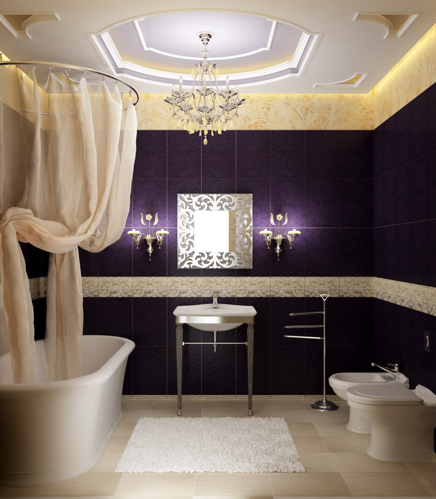 Luxury-bathroom-ceiling-with-cristal-chandelier