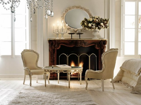 classic italian interior design fire place and living room design