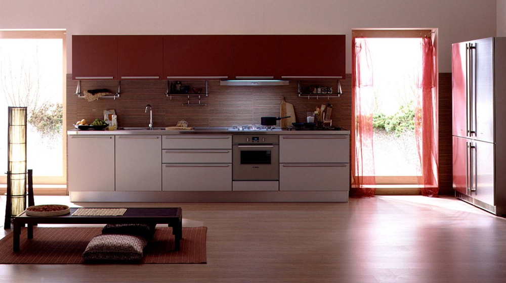 Luxury-italian-kitchen-design-with-stoves-cupboards-cabinets-sink-wooden-floor-curtains-and-small-table