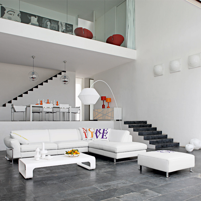 modern family living room on Elagant Modern Luxury White Living Room With White Sofa Set And Dining