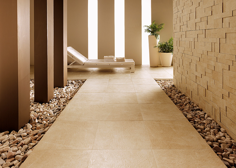 Beautiful ceramic floor tiles from refin for Interior decoration using pebbles