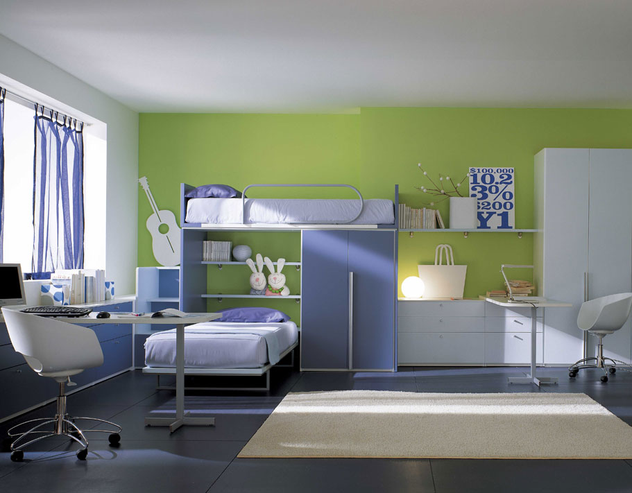 Home design interior kids study room design for Bedroom rooms ideas