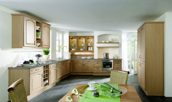 The L-shaped kitchen can be used in a variety of ways