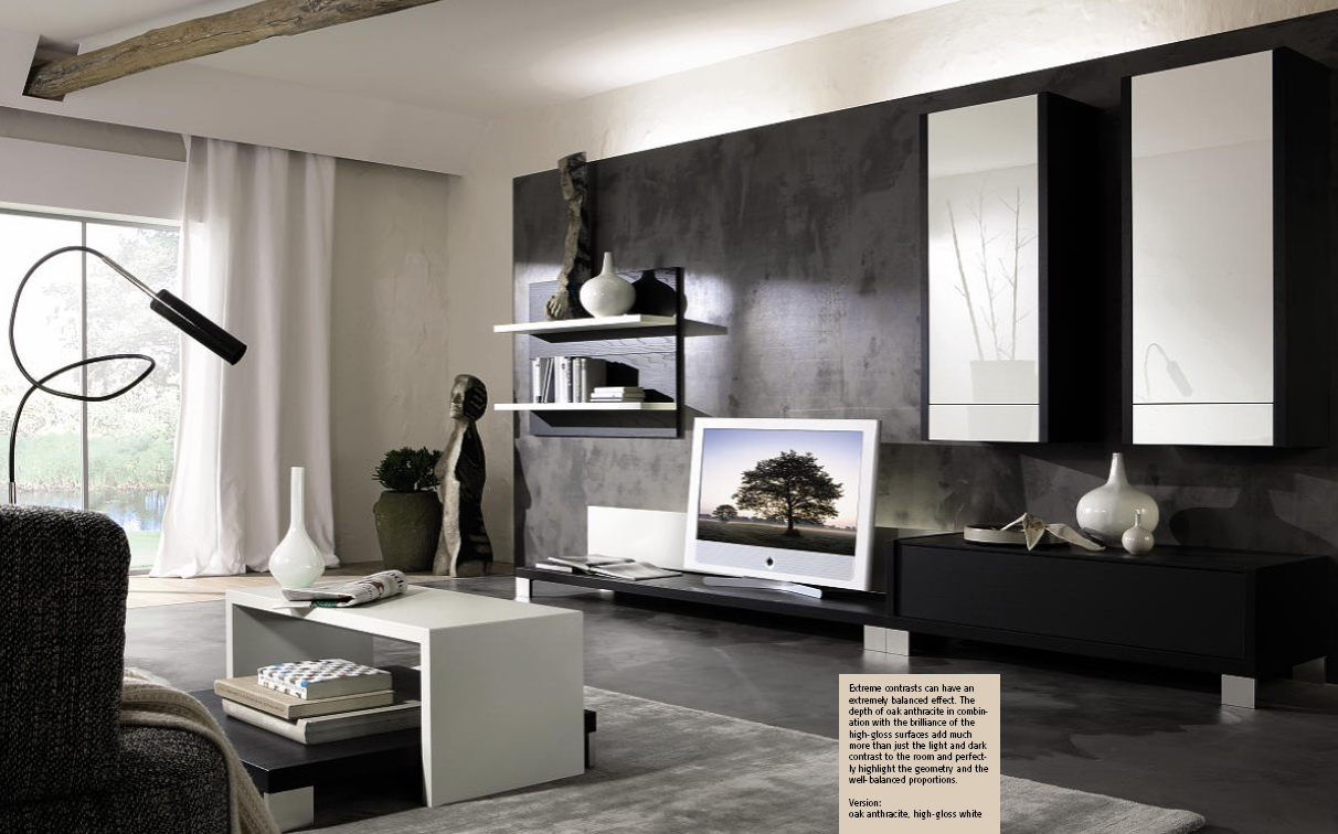 Stylish living room sets from huelsta - Black and silver lounge design ...