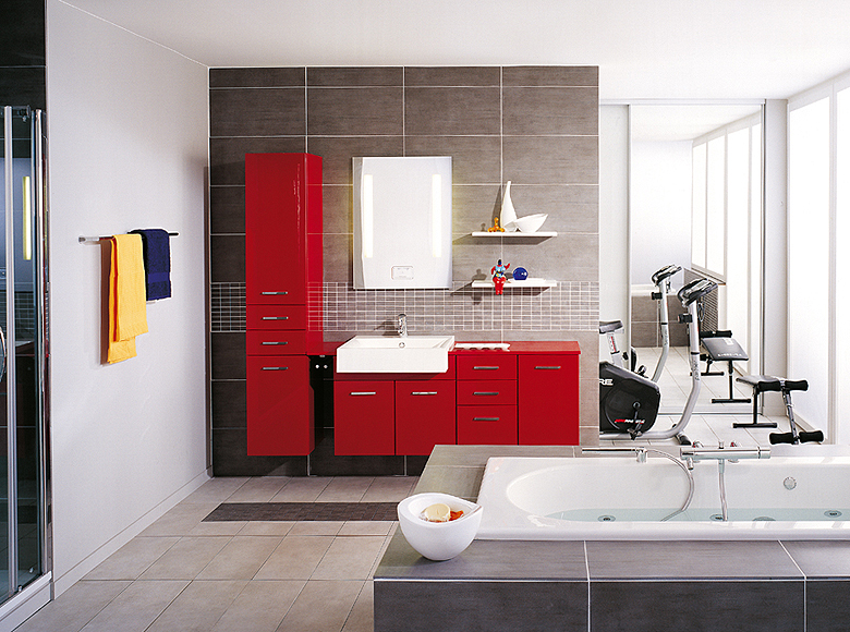 Modern Bathroom Design With Washbasin Cupboards
