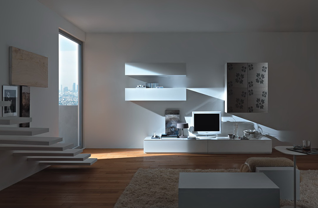 Modern wall units from momentoitalia for Modern living room ideas for small room