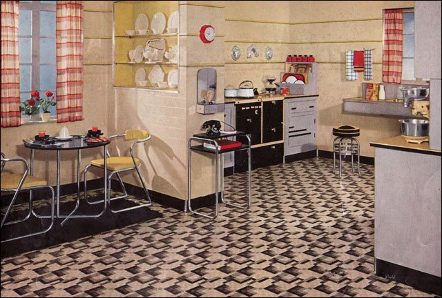 Retro kitchen design sets and ideas - Retro flooring kitchen ...