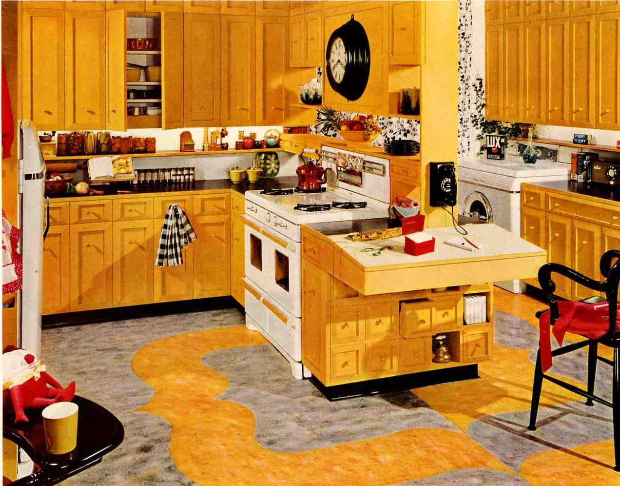Retro kitchen design sets and ideas for Kitchen set yellow