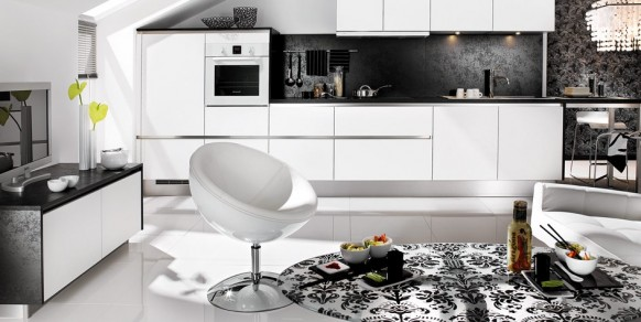 black white living kitchen