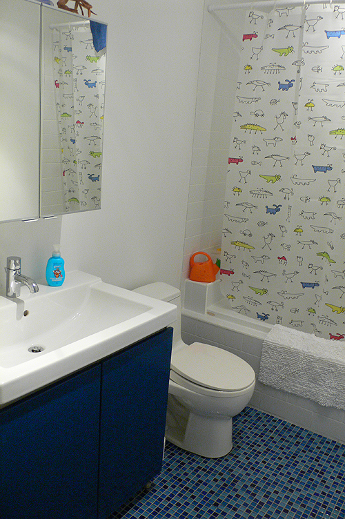 Here is a bathroom that is suited for twins: twin kids bathroom