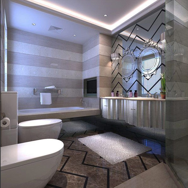 Contemporary-bathroom-design-with-ornamented-wall-sized-mirror-and-carpet