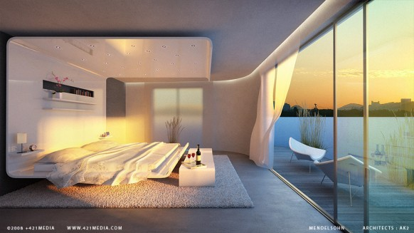 surreal bedroom with great view