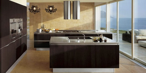 brown black kitchen