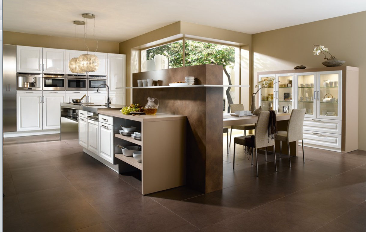 Large-luxury-closed-kitchen-design-with-small-island-cupboards-stoves-sink-shelves-and-table-with-chairs