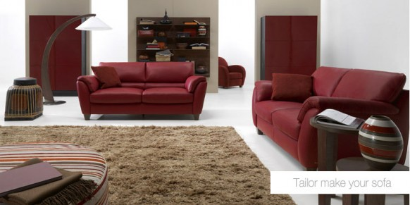 red living room sofa