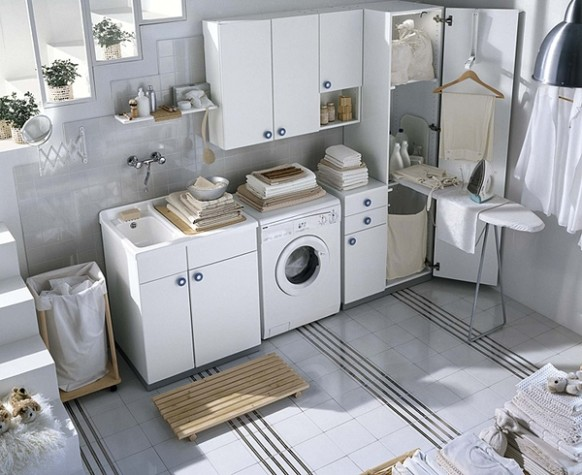 soft white laundry room