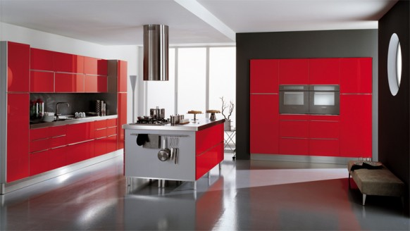 luxury red kitchen style