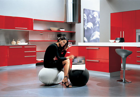 errebi srl red kitchen