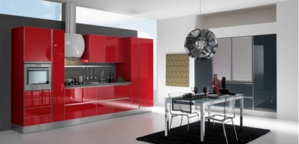 gatto cucine spa red kitchen interior
