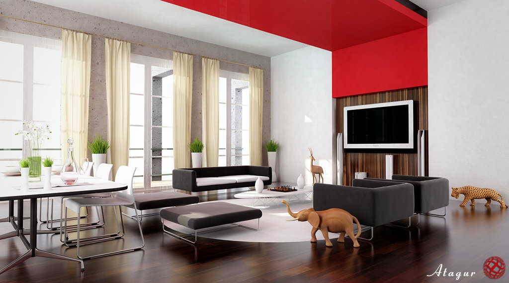 28 red and white living rooms for Sitting room styles