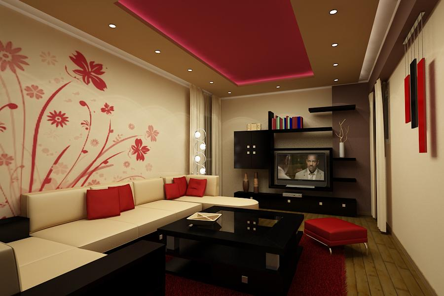 Wall Art Decorating Ideas Interior: Living Rooms In Red