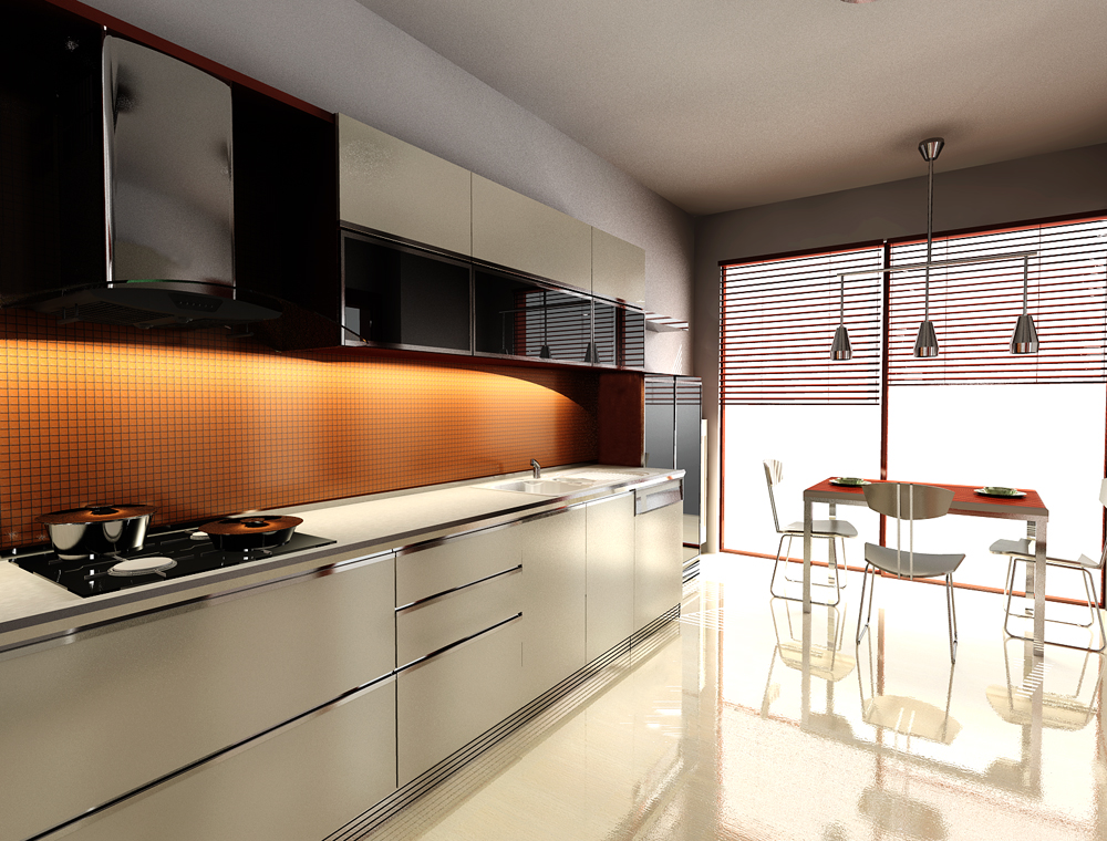 Retro Black White and Orange Kitchen