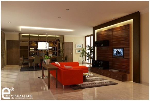 living interiors  Luxury and Modern Living Room Red Interior Design