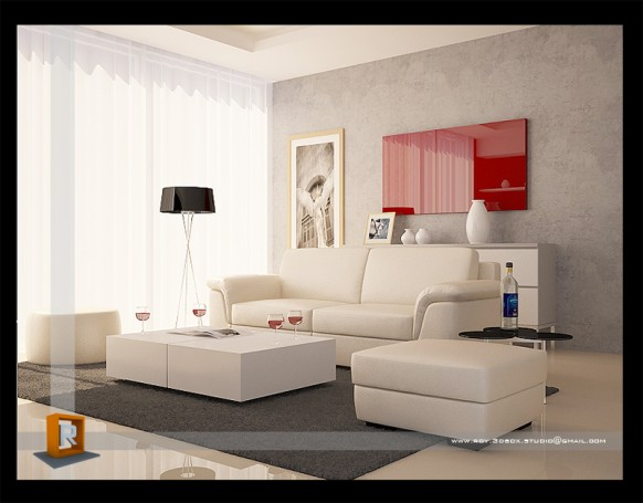 New Design Living Room Red And White Combination