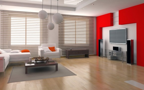 Red and White Combination Living Room Designs