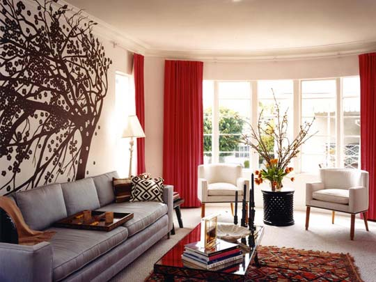 Huge stylish living room with red a nd white