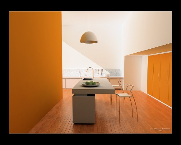 Minimalistic Orange Kitchen