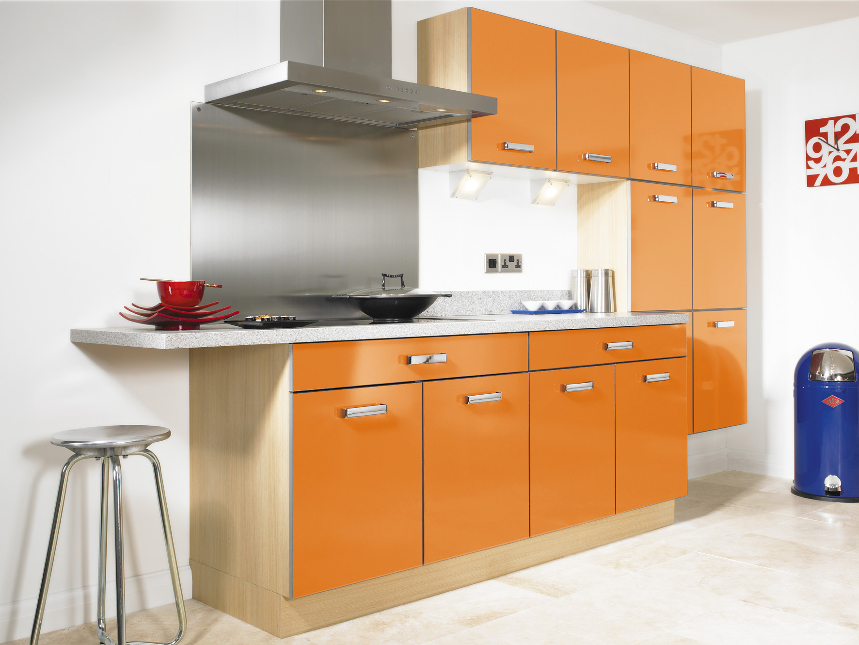 Orange kitchens for Small kitchen cabinets