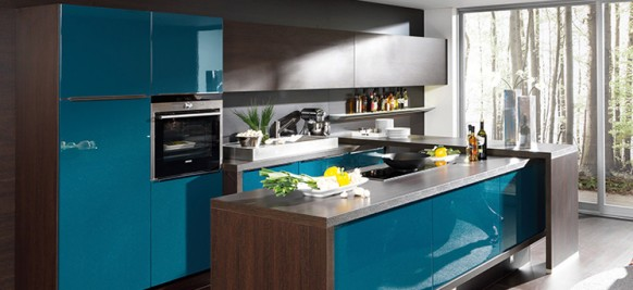 modular blue kitchen