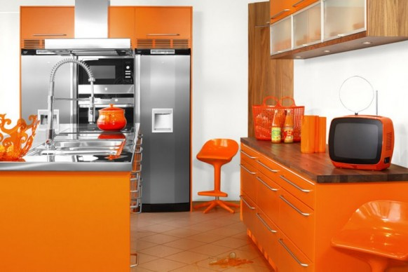 Modular Orange Kitchen
