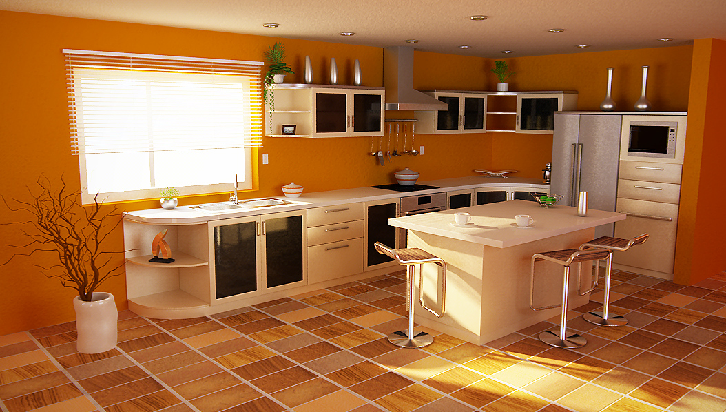 Orange kitchens for Kitchen set kayu