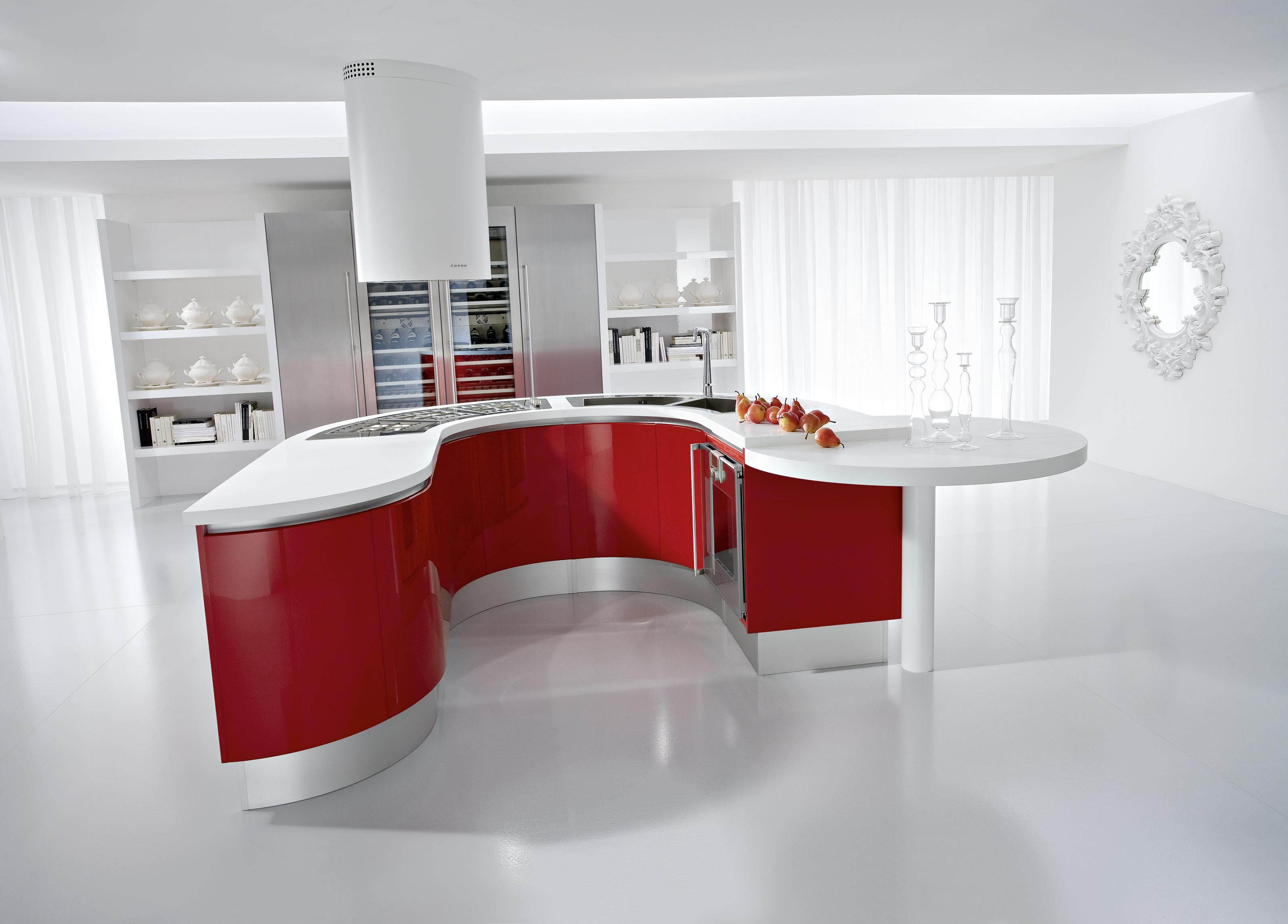 Kitchen On Red White Kitchen