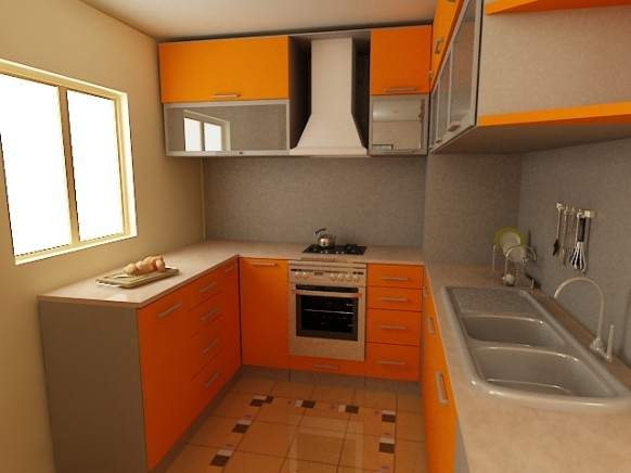 small kitchen orange