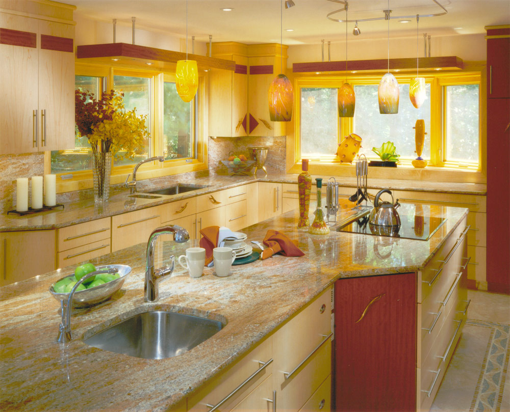 Yellow kitchens for Blue and yellow kitchen decorating ideas