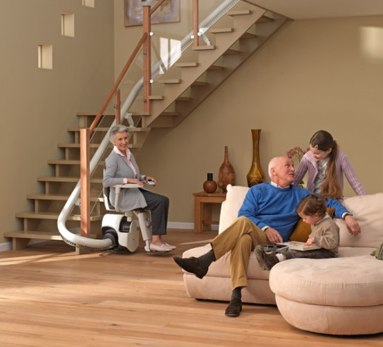 modern curved stair lift design