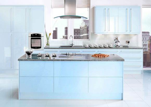 blue modular kitchen
