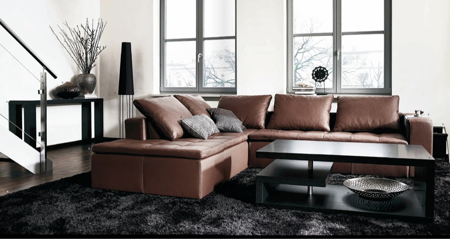 Contemporary living room furniture for Black and brown living room designs