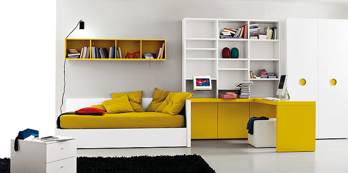 ochre white bed room I don't care if these side tables are for teens (PB Teen) they will look ...
