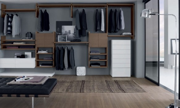 open white shelves wardrobe