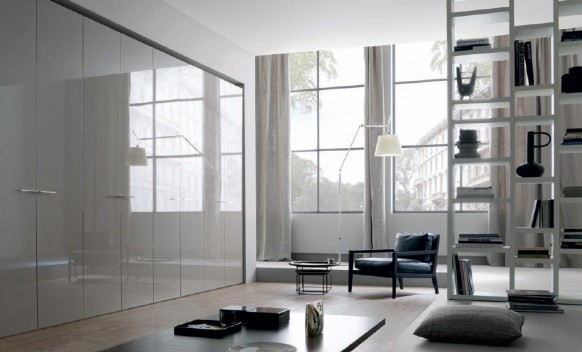 reflective hinged door wardrobe