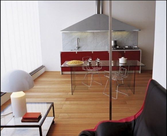 kitchen with wooden floors