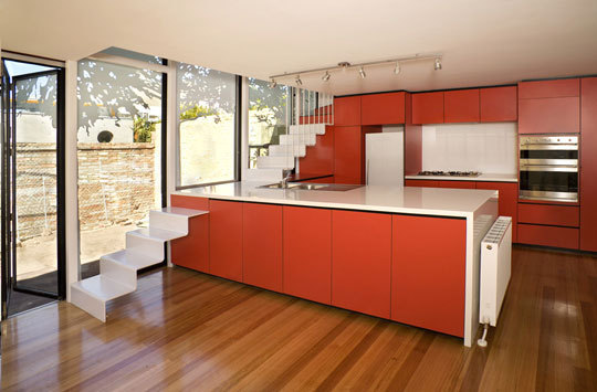 red kitchen stairs