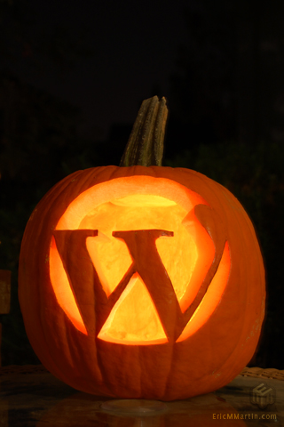 Wordpress logo carved into a pumpkin