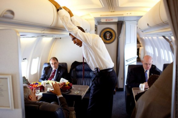 Obama in Air Force 1