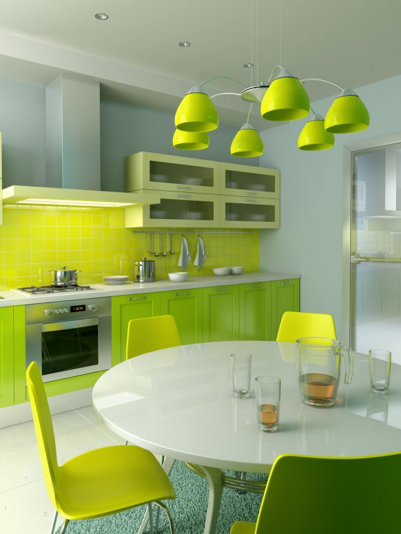 green and yellow kitchen