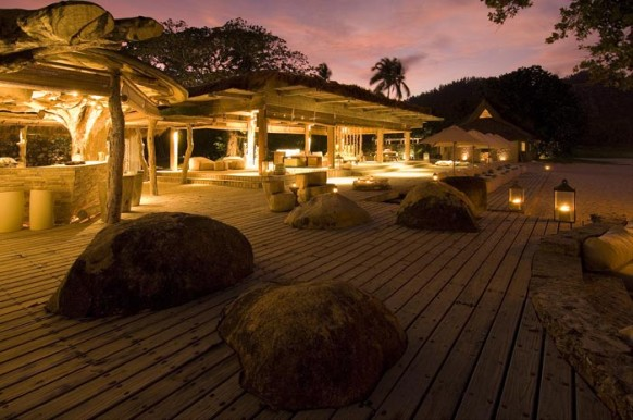 Private Island Seychelles - lit up at night
